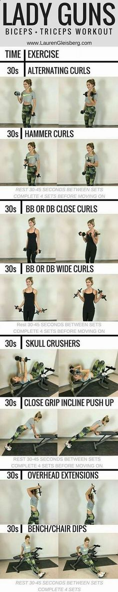 Grab your dumbbells for this effective strengthening workout. These u… Lady Guns! Grab your dumbbells for this effective strengthening workout. These upper body exercises are great to add to your fitness routine for a lean and sculpted look. Sport Fitness, Body Fitness, Fitness Diet, Health Fitness, Ladies Fitness, Fitness Shirts, Health Goals, Mental Training, Weight Training