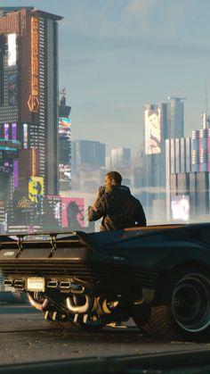 Cyberpunk 2077, man with future car, video game, 720x1280 wallpaper
