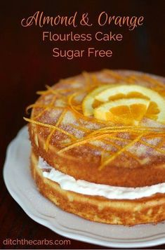 Almond And Orange Flourless Cake - easy blender recipe - Amazing blender cake. No peeling required. Low carb almond and orange flourless cake which is low carb, sugar free, gluten free and grain free. Watch the new video to see how this is done - magic! Low Carb Sweets, Gluten Free Sweets, Sugar Free Desserts, Gluten Free Cakes, Sugar Free Recipes, Gluten Free Baking, Low Carb Desserts, Healthy Sweets, Almond Recipes
