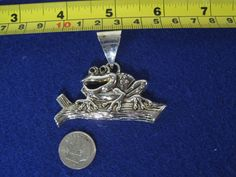 Vintage Silver Frog Sitting on a Log Pendant Cute as Ever!