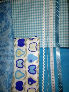 Light blue apple. Dirndl fabric and ribbons