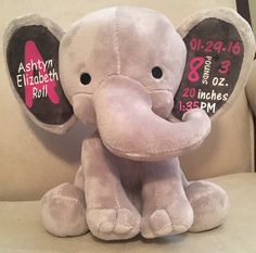 personalized baby gift monogrammed stuffed animal elephant