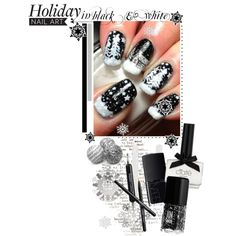 """""""Holiday nail art in black & white"""" by cafejulia on Polyvore"""