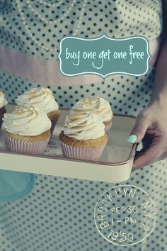 50s retro sunshine Lemon Cupcakes