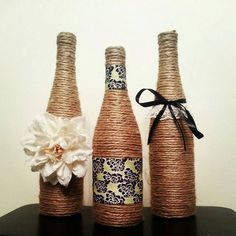 Wine Bottle Decor - Set of 3 Bottles