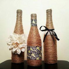 Wine Bottle Decor - Set of 3 Bottles