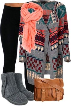 Cute Outfit for Winter : Colorful Cardigan , UGG Shoes , Black Tights , Leather Handbag with Pink Scarf