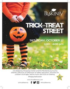 will be at Blakeney Shopping Centers for an afternoon of safety education, festive music, trick-or-treating, and activities for all. Sheriff Office, Shopping Center, Trick Or Treat, Happy Halloween, Activities For Kids, Festive, Safety, Education, Children