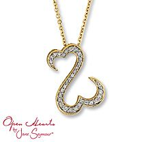 Open Hearts Necklace 1/4 ct tw Diamonds 14K Yellow Gold