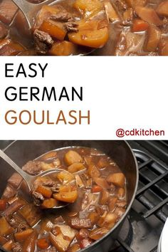 Different country, different goulash! This German variety with beef, tomatoes, and potatoes is awesome served over noodles. And there's half a bottle of red wine in the ingredients list. Goulash Recipes, Beef Recipes, Cooking Recipes, Healthy Recipes, Diner Recipes, German Recipes Dinner, Easy German Recipes, French Recipes, German Recipes