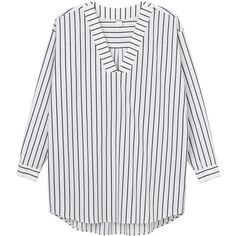 Ovia blouse (60 CAD) ❤ liked on Polyvore featuring tops, blouses, striped blouse, striped top, button blouse, long tops and oversized tops