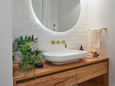round backlit bathroom mirror the block deb and andy bathroom trends 2020 Bathroom Trends, Modern Bathroom, Small Bathroom, Master Bathroom, Bathroom Inspo, Bathroom Ideas, Gothic Bathroom, Zen Master, Master Baths