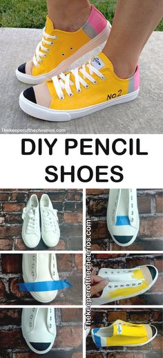 DIY Pencil Shoes - Teacher Shirts - Ideas of Teacher Shirts - DIY Pencil Shoes back to school shoes teacher shoes painted shoes Teacher Shoes, Teacher Style, Art Teacher Outfits, Art Teacher Clothes, Elementary Teacher Outfits, Teaching Outfits, Pencil Shoes, Back To School Shoes, Girls School Shoes