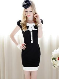 Black Retro Slim Fit Asian Fashion Dress With White Collar And Edging
