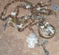 Shadows in the Moonlight Antique Rosary Frozen by angels9 on Etsy