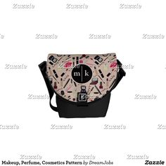 Makeup, Perfume, Cosmetics Pattern Messenger Bag. Producto disponible en tienda Zazzle. Accesorios, moda. Product available in Zazzle store. Fashion Accessories. Regalos, Gifts. #bolso #bag