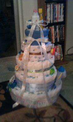 Boys baby shower diaper cake... They are super easy!