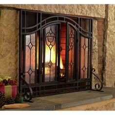 Plow & Hearth Single Panel Steel Fireplace Screen & Reviews | Wayfair Fireplace Screens With Doors, Glass Fireplace, Brick Fireplace Makeover, Farmhouse Fireplace, Glass Panels, Glass, Fireplace, Paneling, Glass Fireplace Screen
