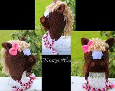 Crochet Horse hat.Horse hat.Made to order. Caballo De Ganchillo 4b6f0673699
