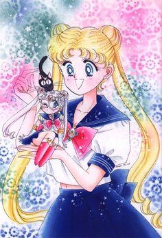 Usagi, Luna, and a Mini Sailor Moon; from Bishoujo Senshi Sailor Moon Original Picture Collection, Vol. Sailor Jupiter, Sailor Venus, Sailor Mars, Sailor Moon Manga, Arte Sailor Moon, Cristal Sailor Moon, Sailor Moon Crystal, Art Manga, Manga Anime