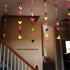 Decor: Mickey Mouse garland - use cookie cutter Mickey E Minie, Mickey Mouse Clubhouse Birthday Party, Mickey Mouse 1st Birthday, Mickey Mouse Parties, 2nd Birthday Parties, Birthday Ideas, Mickey Ears, Birthday Celebration, Disney Diy