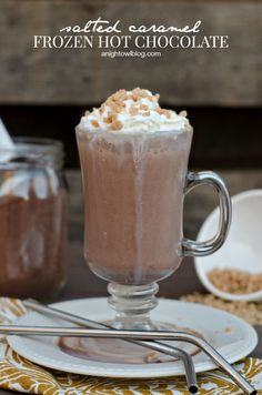Salted Caramel Frozen Hot Chocolate - the tempting taste of salted caramel perfectly balanced with notes of milk chocolate!