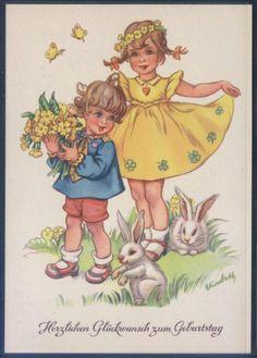 Künstlerkarte - sign. Elisabeth - Geburtstag ( K01173 ), Briefmarken-Versand-Welt - Briefmarken, Ansichtskarten und mehr