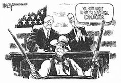 Jeff MacNelly editorial cartoon on Ronald Reagan's appearance before Congress with Tip O'Neil and George Bush, Sr.
