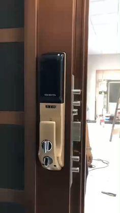 Digital Lock with Camera Source by . Door Gate Design, Wooden Door Design, Main Door Design, Smart Home Locks, Biometric Lock, Smart Home Design, Front Door Locks, Digital Lock, Home Entrance Decor