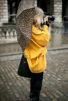 "<3 the ""Morton Salt Girll"" rain jacket w/leopard umbrella...nice combo."