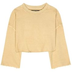 Yeezy Cropped Cotton Sweater (Season 1) ($235) via Polyvore featuring tops, sweaters, yellow, cotton crop top, adidas originals, beige crop top, cropped tops and beige top