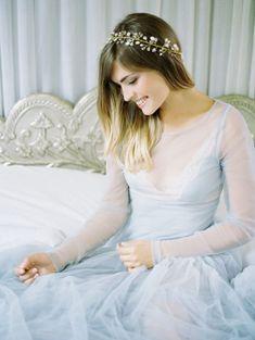 Tendance Robe du mariage 2017/2018  Princess-worthy blue chiffon gown  headband: www.stylemepretty | Photography