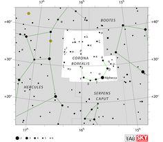 northern crown,corona borealis star map
