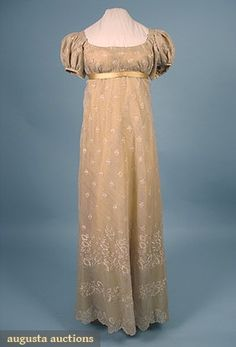 Augusta Auctions, April 2006 Vintage Clothing & Textile Auction, Lot 769: Silk Net & Lace Dress, C. 1810