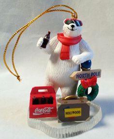"Coca Cola Ornament Polar Bear 1996 Hollywood Suitcase North Pole Sign 3.5""  #CocaCola #polarbear"