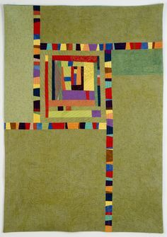 Modern art quilt by Cindy Grisdela Édredons Cabin Log, Log Cabin Quilts, Scrappy Quilts, Mini Quilts, Quilting Projects, Quilting Designs, Art Quilting, String Quilts, Art Textile