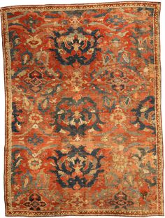 A Turkish Ghiordes rug BB3767 - by Doris Leslie Blau. An early 19th century Turkish Ghiordes (Giordes) rug, the brick red field with a large-scale pattern of dramatically ...