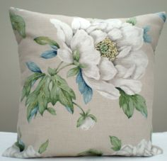 "LAURA ASHLEY DECO LICHEN  *VINTAGE FABRIC* PAIR 16/"" CUSHION COVERS"
