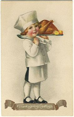 Free Printable Vintage Thanksgiving Postcard  Little Cook Turkey ........ by ALTERED ARTIFACTS