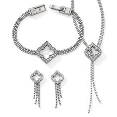 Toledo Falls set to Brighton's iconic Toledo Collection. Classic crystal-embellished arabesques with graceful silver chains.