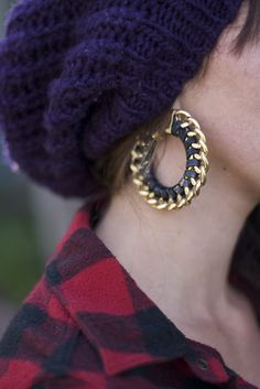 leather and chain hoop earring
