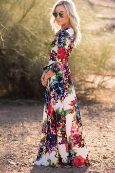 the Charlie tropical floral print wrap maxi dress - ShopLuckyDuck  - 1