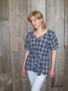 Refashioned mens shirt- Womens upcycled clothing- Womens summer blouse - Sz S-M-L. $25.00, via Etsy.