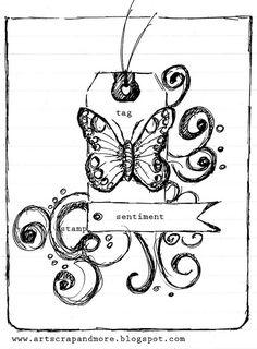 a sketch & a card_papillon