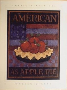 art print~AS AMERICAN AS APPLE PIE~Warren Kimble~folk primitive flag 14x18 #FolkPrimitive