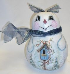 Snowman Gourd with Birdhouse  Hand Painted Gourd by FromGramsHouse