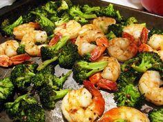 Roasted shrimp and broccoli #dinner