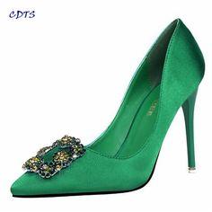 >> Click to Buy << CDTS Retro Spring/Autumn 10cm thin high heels Classics Crystal pumps women Pointed Toe Stilettowedding shoes sapato feminino #Affiliate