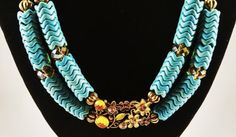 Turquoise and Gold Chevron Stone Hemp String Necklace by Struckles