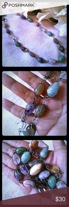 """Vintage Gemstone Nuggets Necklace Silver tone metal and semi-precious gemstone nugget necklace.  Has a round spring-type clasp. It measures approximately 25"""" from end to end. Jewelry Necklaces"""